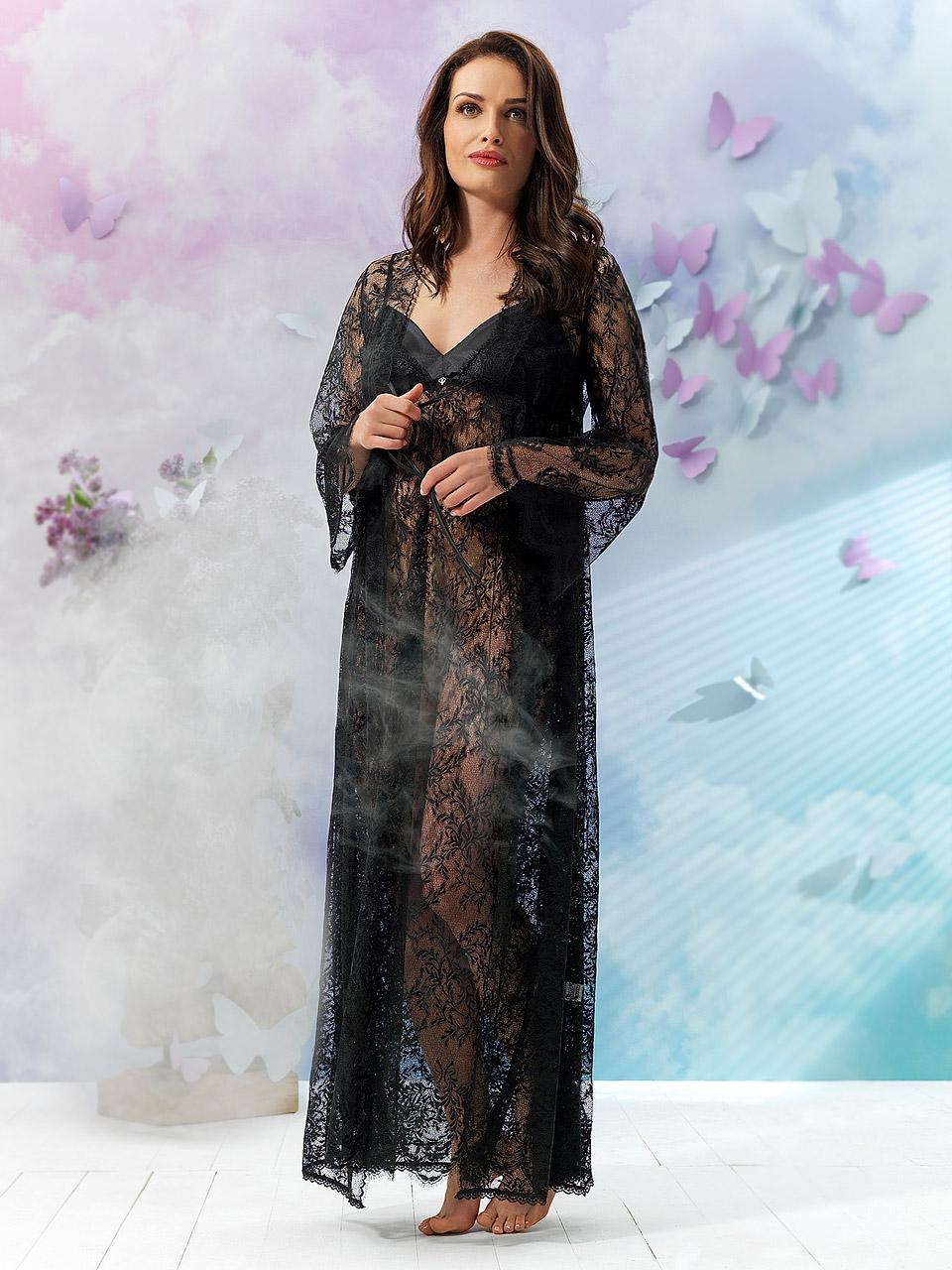 Jasmine 2909 Vestaglia<br />01 Ivory, 02 Black