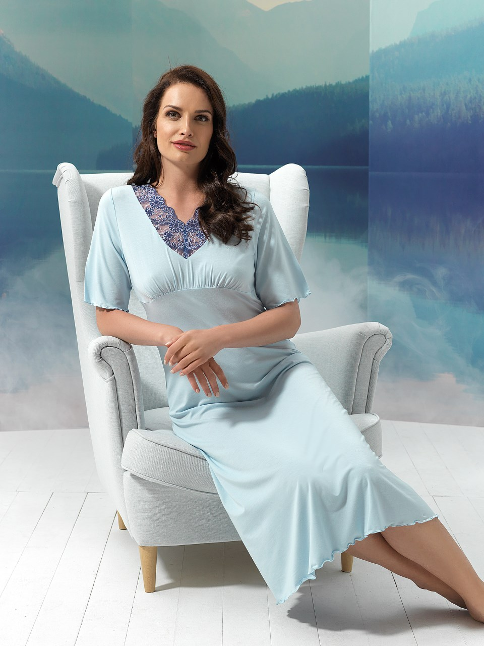 Sky 2955 Camicia da notte<br />10 Ivory, 20 Light Blue