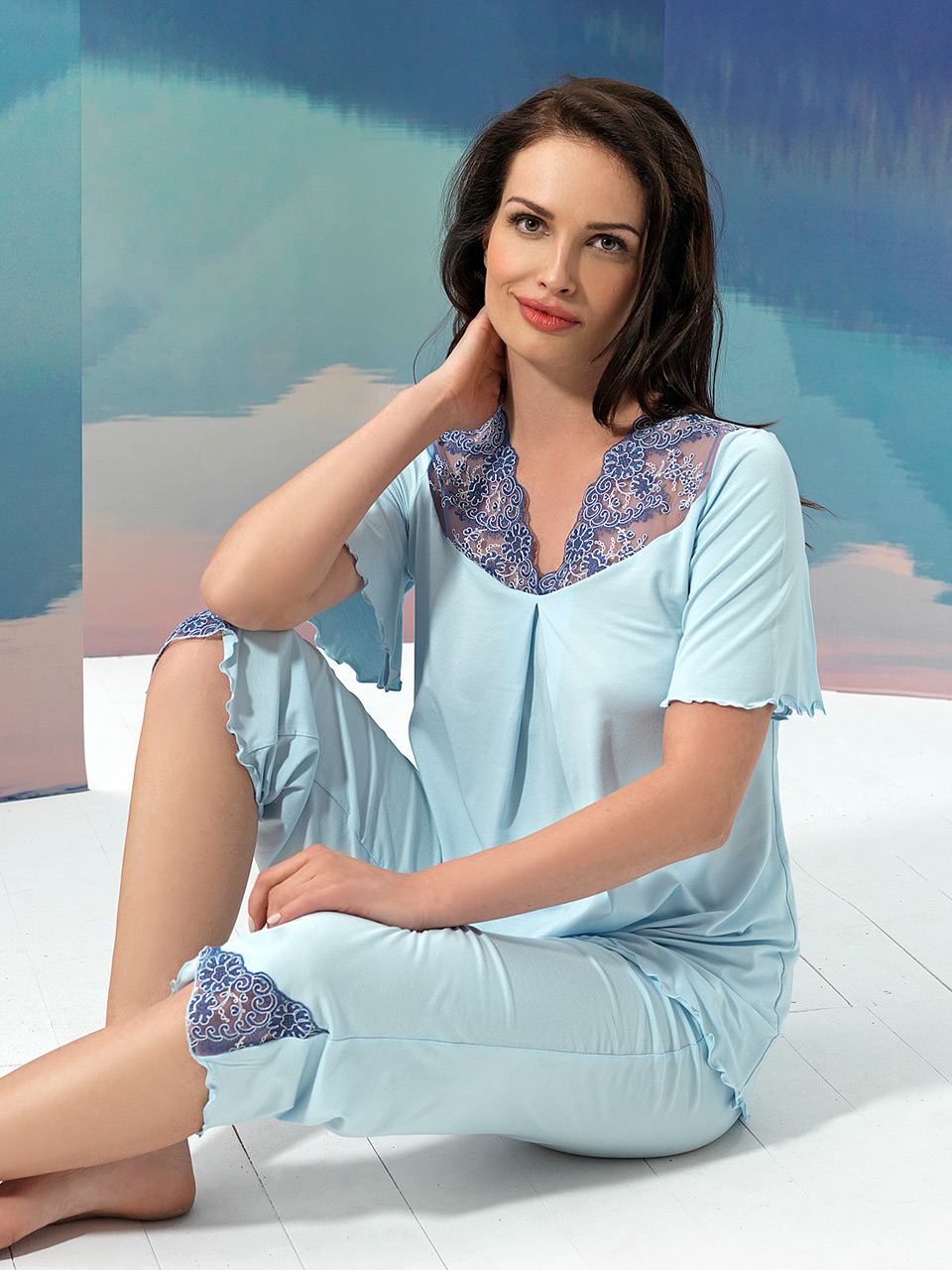 Sky 2956 Pigiama<br />10 Ivory, 20 Light Blue