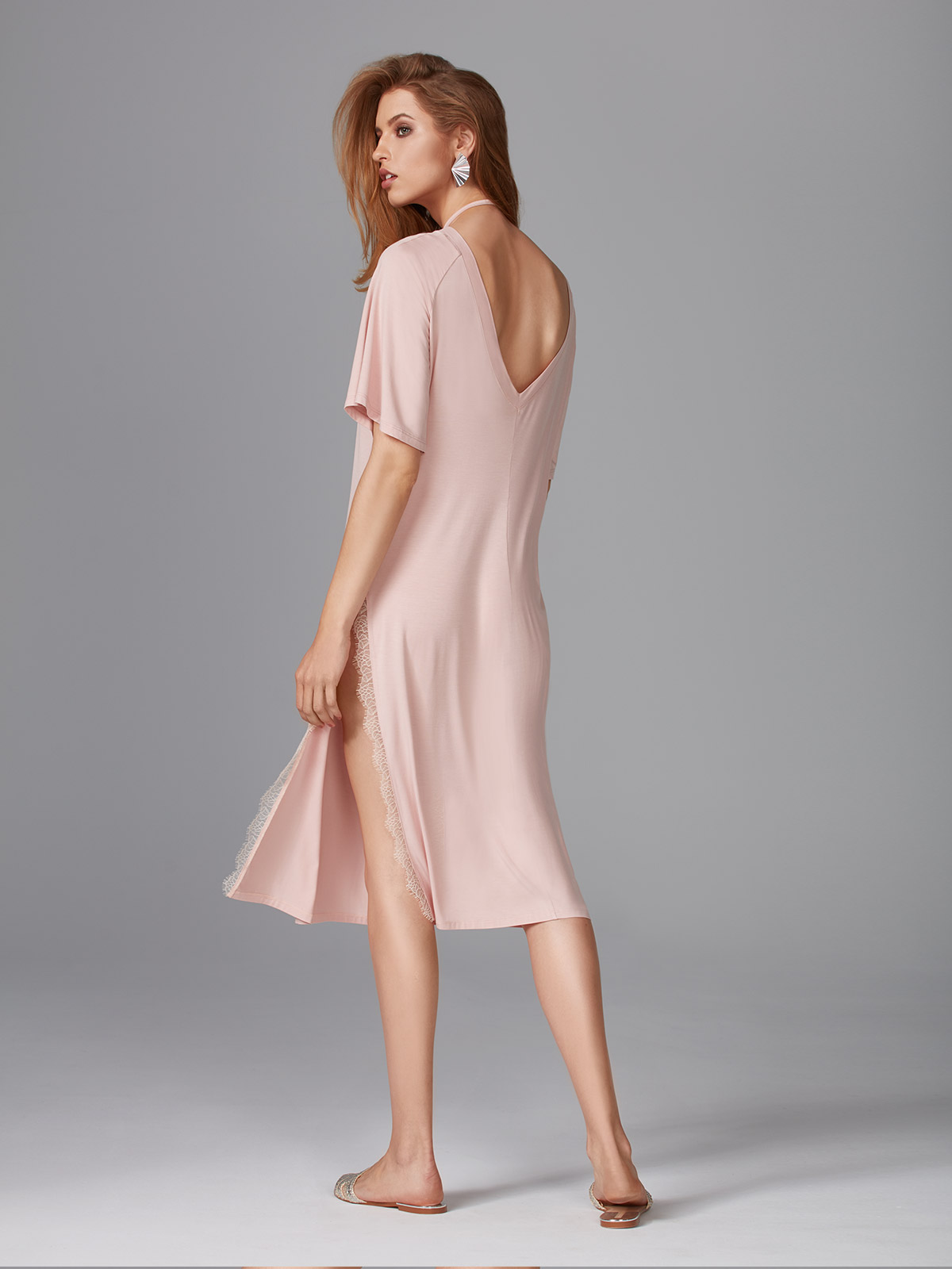 Morning Elegance OZ027 Camicia da notte<br />02 Black, 64 Dusty Pink